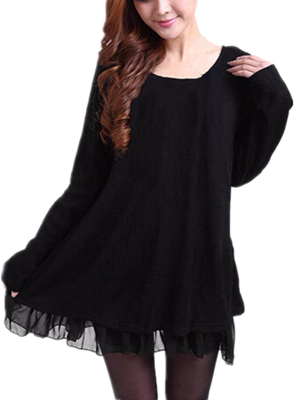 ZANZEA Women Sweater Long Sleeve Dress Plus Size Casual Loose Pullover Knit Jumper Tunic Tops