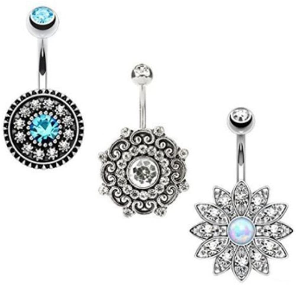 carduran 3Pcs Unique Desgin Charming Style Fashionable Zircon Inlaid Belly Rings Set Flower Navel Button Bar Body Piercing Jewelry