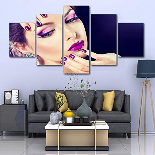 HIOJDWA 5 Pieces Canvas Painting Beauty Salon Beautiful Eye Lip Make-Up Cosmetics Canvas Wall Art Print and Poster Artwork Decor Poster