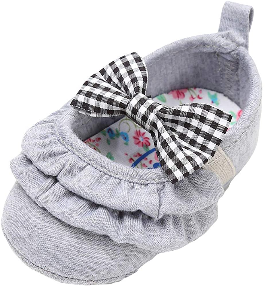 Lurryly❤Newborn Baby Cotton Bowknot Soft Sole Fashion Prewalker Anti-Slip First Walkers Shoes