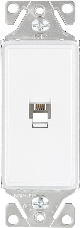 Eaton 9545-4WS ASPIRE Decorator Communication Single Category 3 Phone Jack Insert, White Satin
