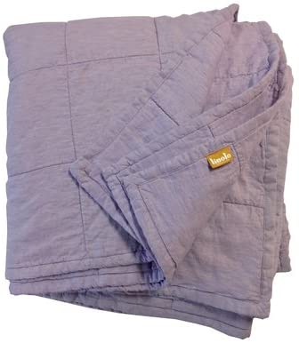 Linoto Quilted Linen Coverlet Queen Lavender 104x92 Cotton Filling Hand Made in USA