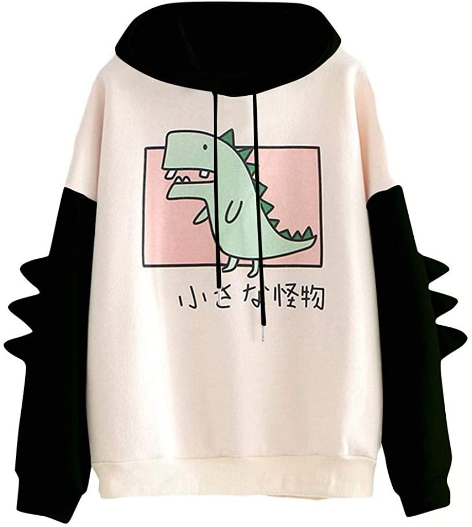 Zpervoba Hoodie for Teen Girls,Womens Fashion Cute Dinosaur Hooded Sweater Casual Loose Sweatshirt Long Sleeve Sweatjacket
