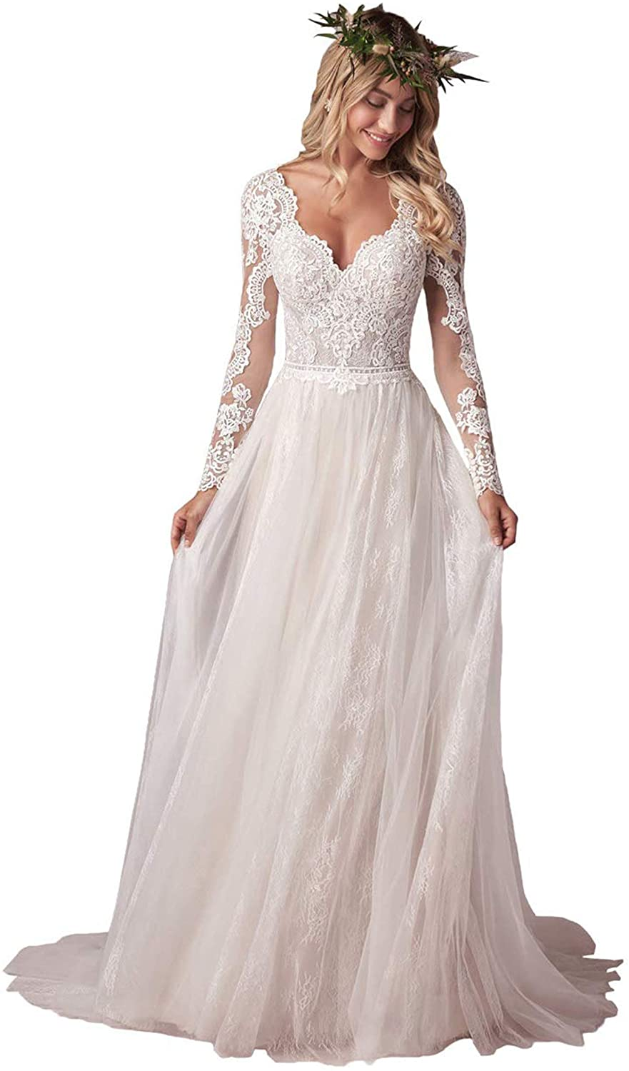 NOVIA Women's Lace Wedding Dresses with 3/4 Illusion Sleeves Bridal Gowns