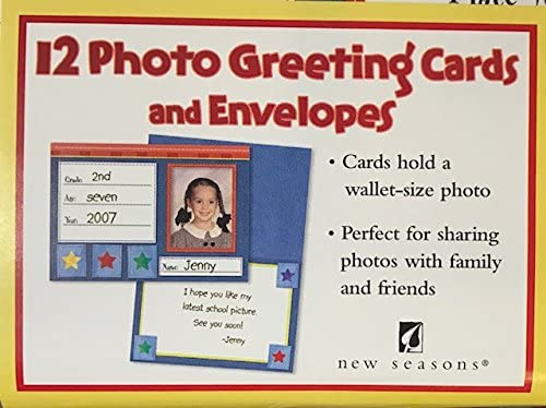 (12) New Seasons School Photo Greeting Cards- 12 Photo Cards and White Enveopes- Fits Wallet Size Photo