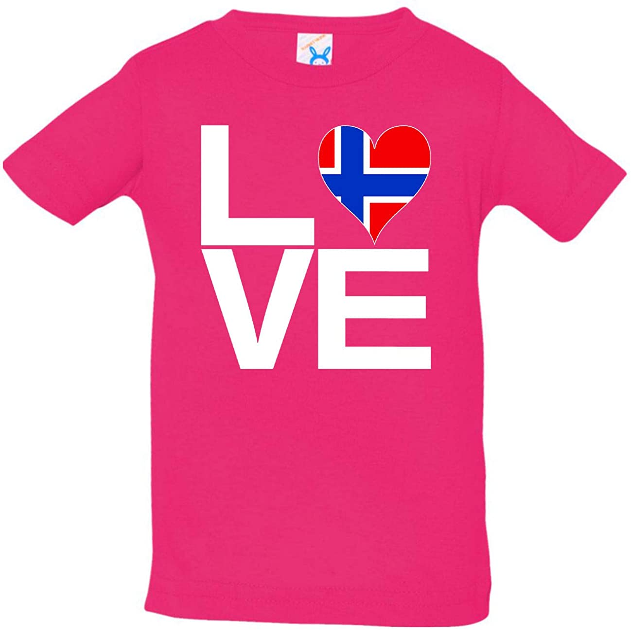 HARD EDGE DESIGN Infant's Love Block Norway Heart Shirt, 12 Months, Hot Pink
