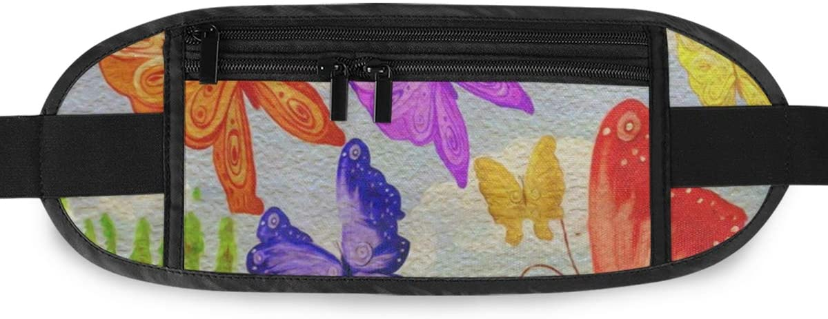 SLHFPX Butterfly Watercolor Hidden Money Belt,Fanny Pack,Running Belt,Travel Wallet Pouch,Wasit Packs Bag,Passport Holder,Bum Bag,Belt Bags for Women Men