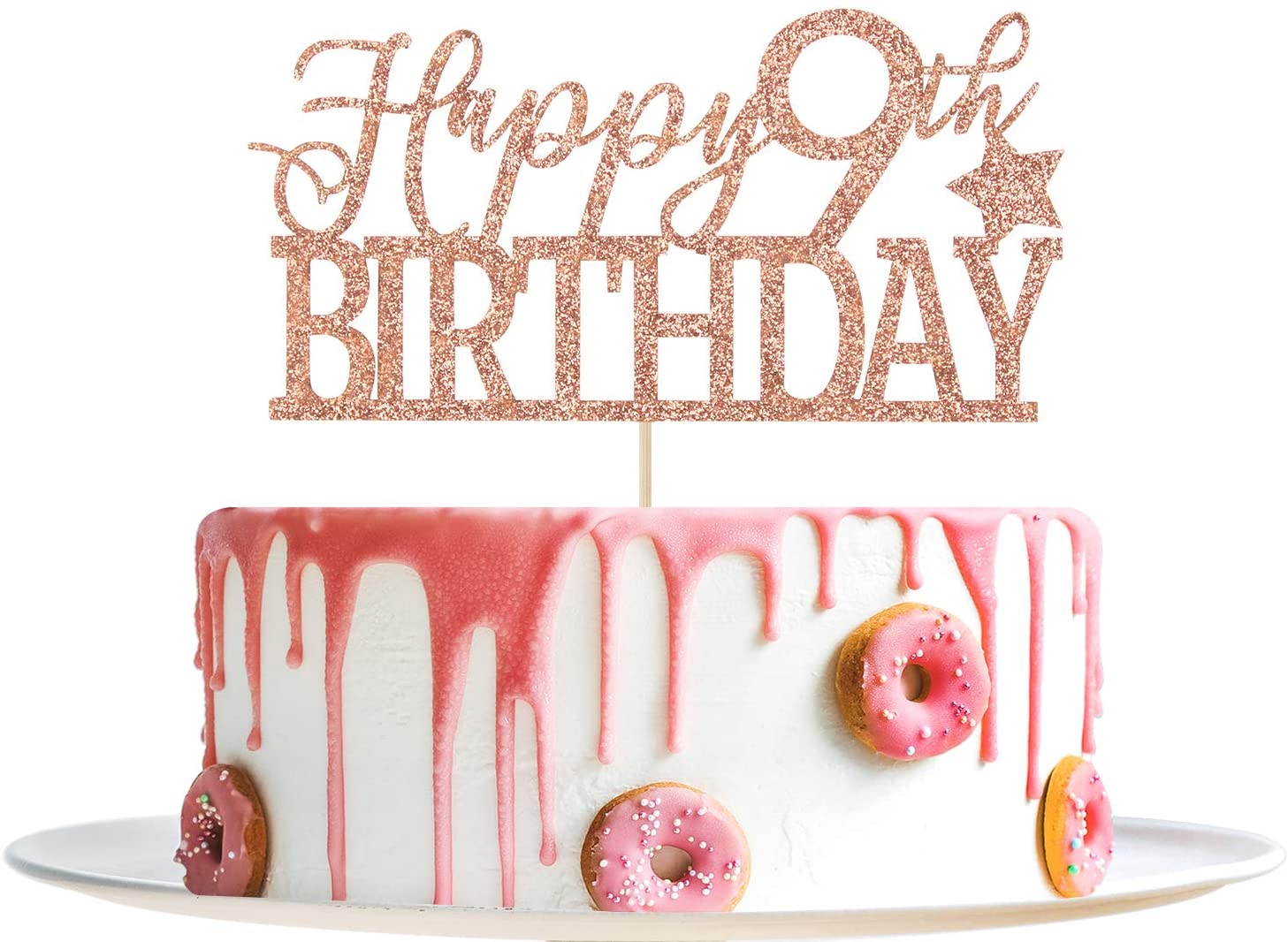 Rose Gold Glitter Happy 9th Birthday Cake Topper- Hello 9- Cheers to 9 Years Party Decoration