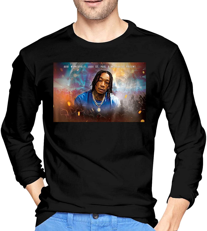 Wiz Khalifa Mens Long Sleeve T-Shirt for Autumn and Winter Fashion Mens Wear Black