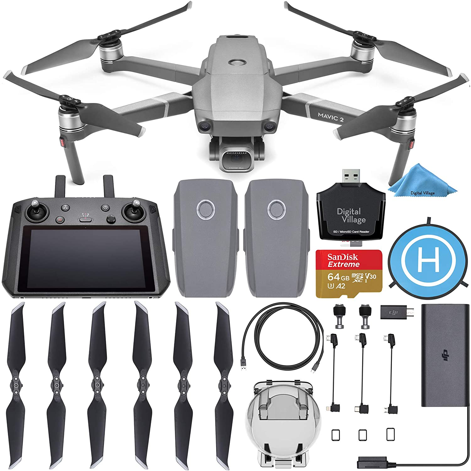 DJI Mavic 2 Pro Drone Quadcopter with Smart Controller with 2 Batteries + SanDisk Extreme 64GB + Landing Pad + Card Reader and 1-Year Warranty