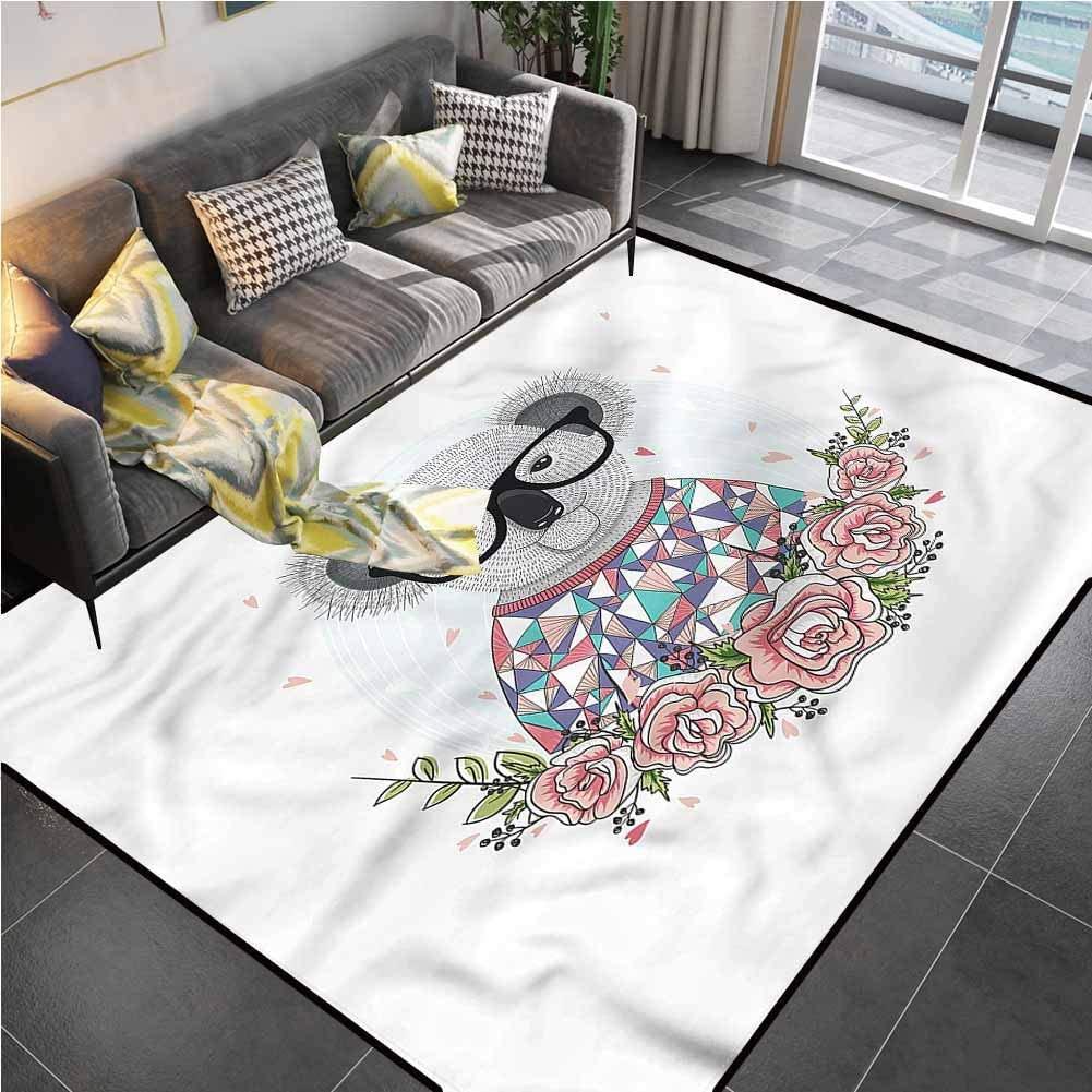 Area Rug Rugs Print Large Floor Mat Koala,Abstract Koala Bear Roses Kitchen Rugs for Living Dining Dorm Playing Room Bedroom 6'x9'