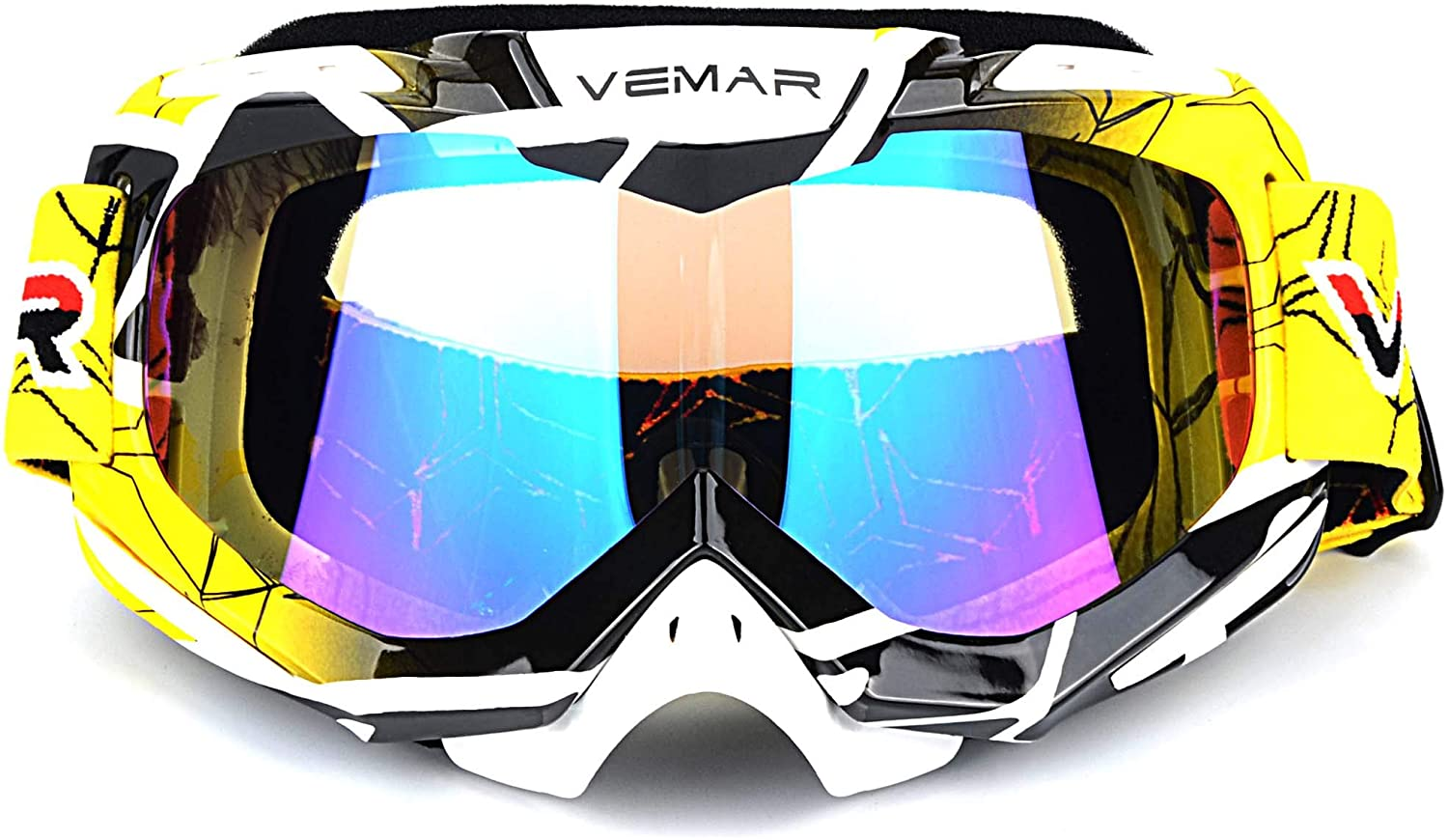 Polarized Sport Motorcycle Motocross Goggles ATV Racing Goggles Dirt Bike Tactical Riding Motorbike Goggle Glasses, Bendable Windproof Dustproof Scratch Resistant Protective Safety Glasses (Yellow)