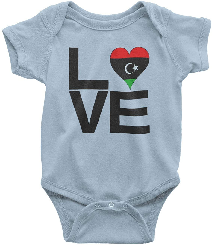 HARD EDGE DESIGN Infant's Love Block Libya Heart Bodysuit, Newborn, Light Blue