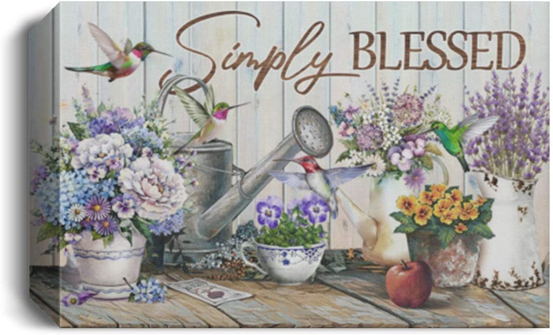 TeeWind Simply Blessed Hummingbirds Floral Christian Framed Canvas Prints - Unframed Poster - Home Decor Wall Art, 48
