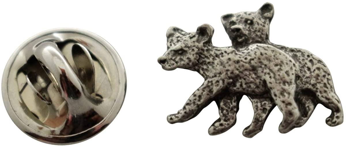 Sarah's Treats & Treasures Twin Bear Cub Mini Pin ~ Antiqued Pewter ~ Miniature Lapel Pin