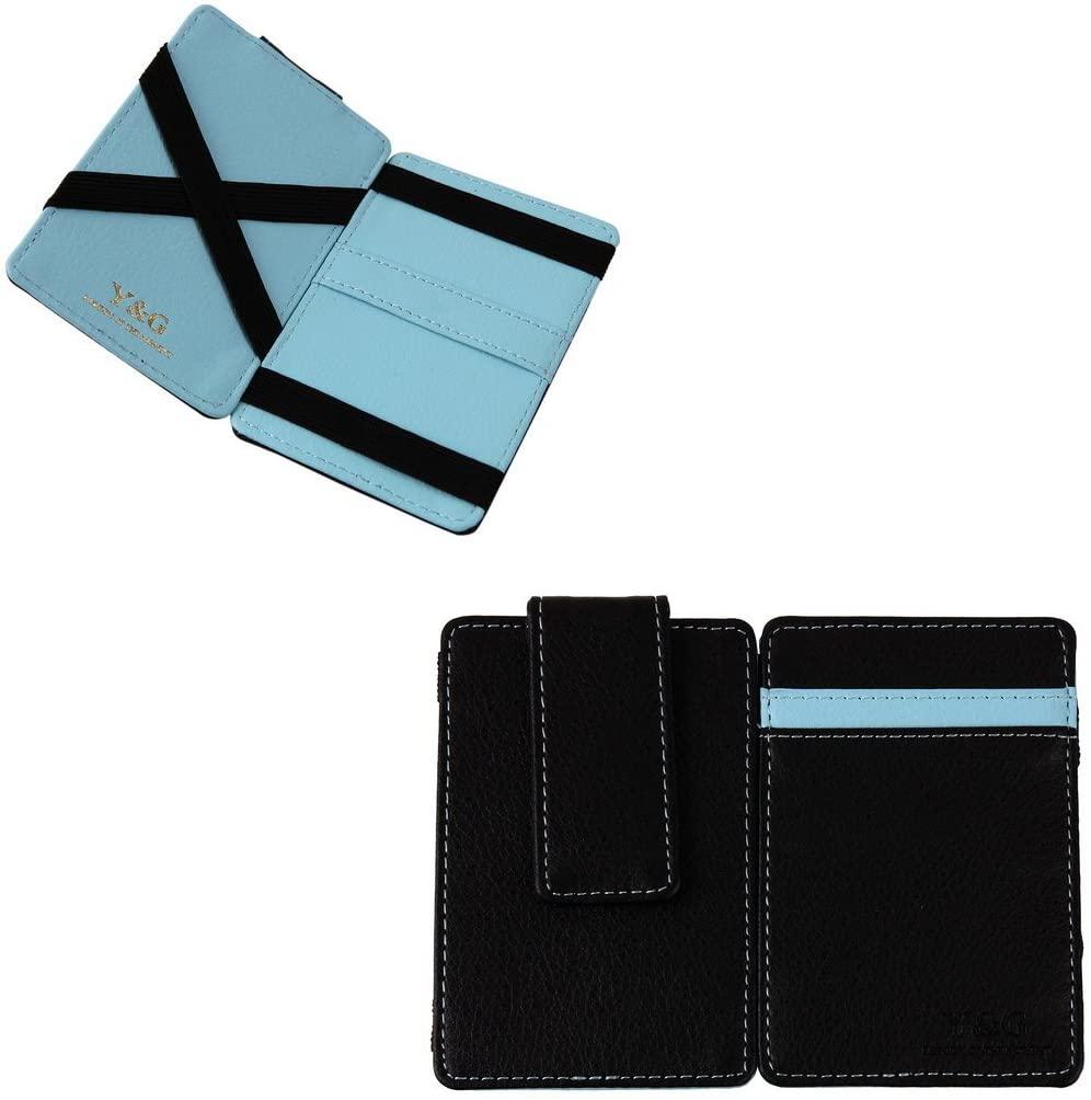 Y&G YCM010106 Blue Black Magic wallet leather cool SKY BLUE mens magnetic wallet ID case Magic Wallet