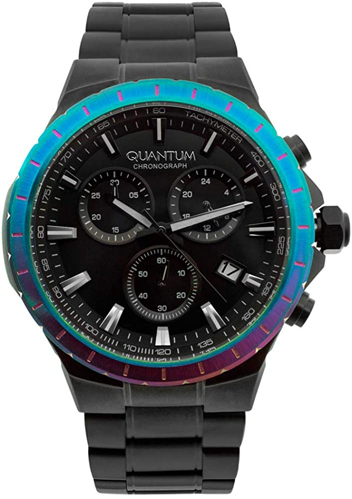 Quantum Black Stainless Steel Japanese Quartz Movement and Chronograph Dial Analog Watch for Men