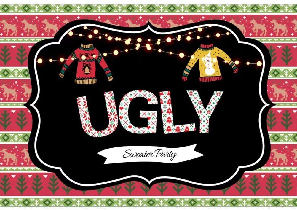 5x3ft Ugly Sweater Themed Christmas Party Backdrop Shiny Light Bulbs Xmas Deer Trees Step and Repeat Party Banner Winter Tacky Holiday Party Decoration Selfie Portrait Photo Booth Props