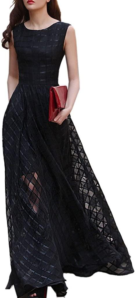 Clothink Women Black Organza Plaid Print Skater Elegant Long Maxi Dress