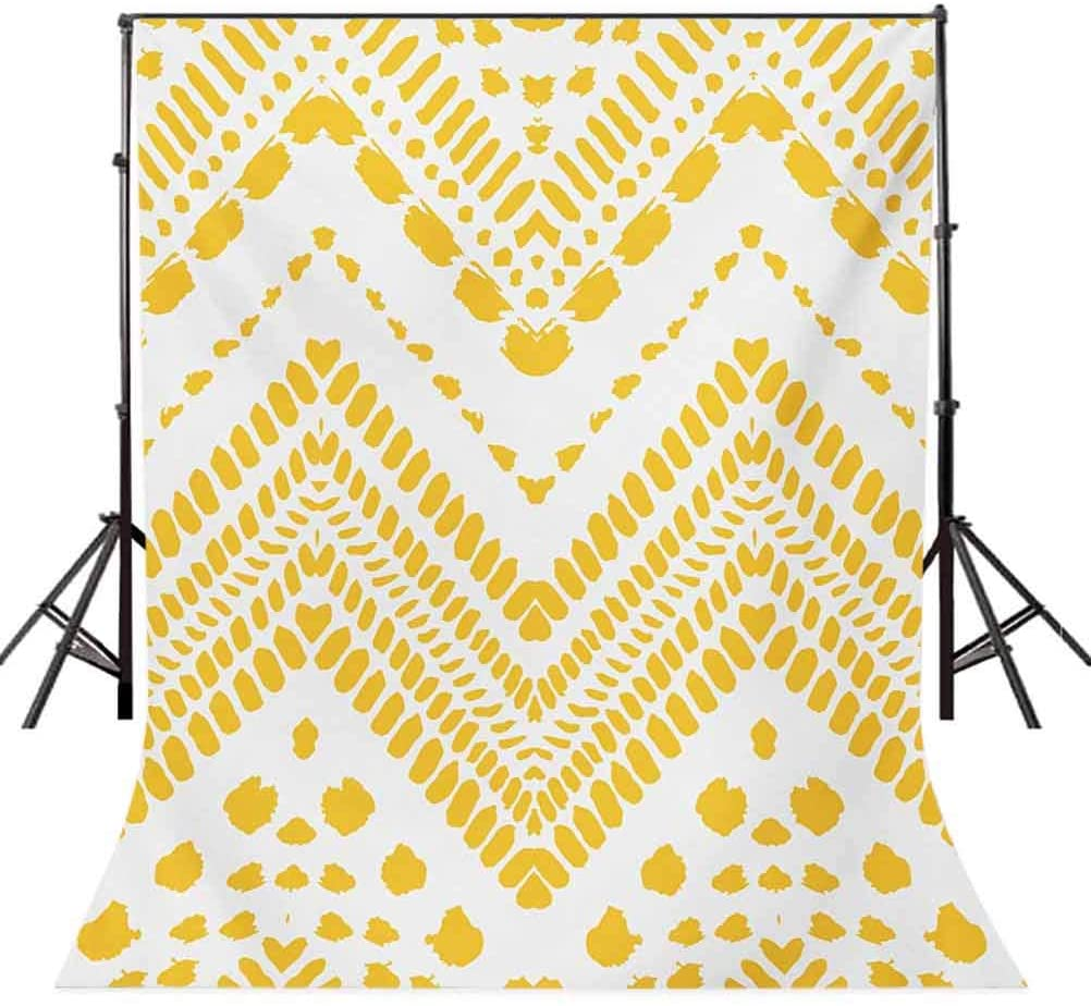 Yellow Chevron 4x6 FT Backdrop Photographers,Hand Drawn Tribal Aztec Pattern Motif with Dashed Lines Background for Party Home Decor Outdoorsy Theme Vinyl Shoot Props Mustard White