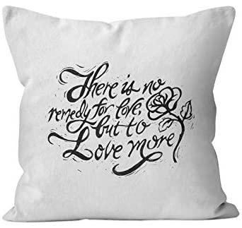 43LenaJon Love Quote Throw Pillow, Linoprint Poem Accent Pillow, Romantic Gift