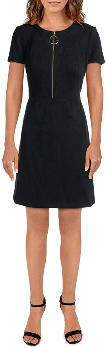 Calvin Klein Womens O-Ring Short Sleeve Mini Dress Black 6