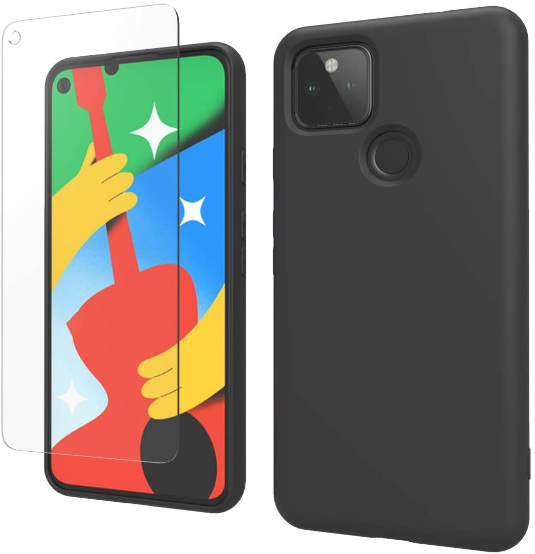 Weycolor Google Pixel 5 Case, with Tempered Glass Screen Protector [2 Pack], Liquid Silicone Slim Soft TPU Fit Drop Protection Phone Case (Black)