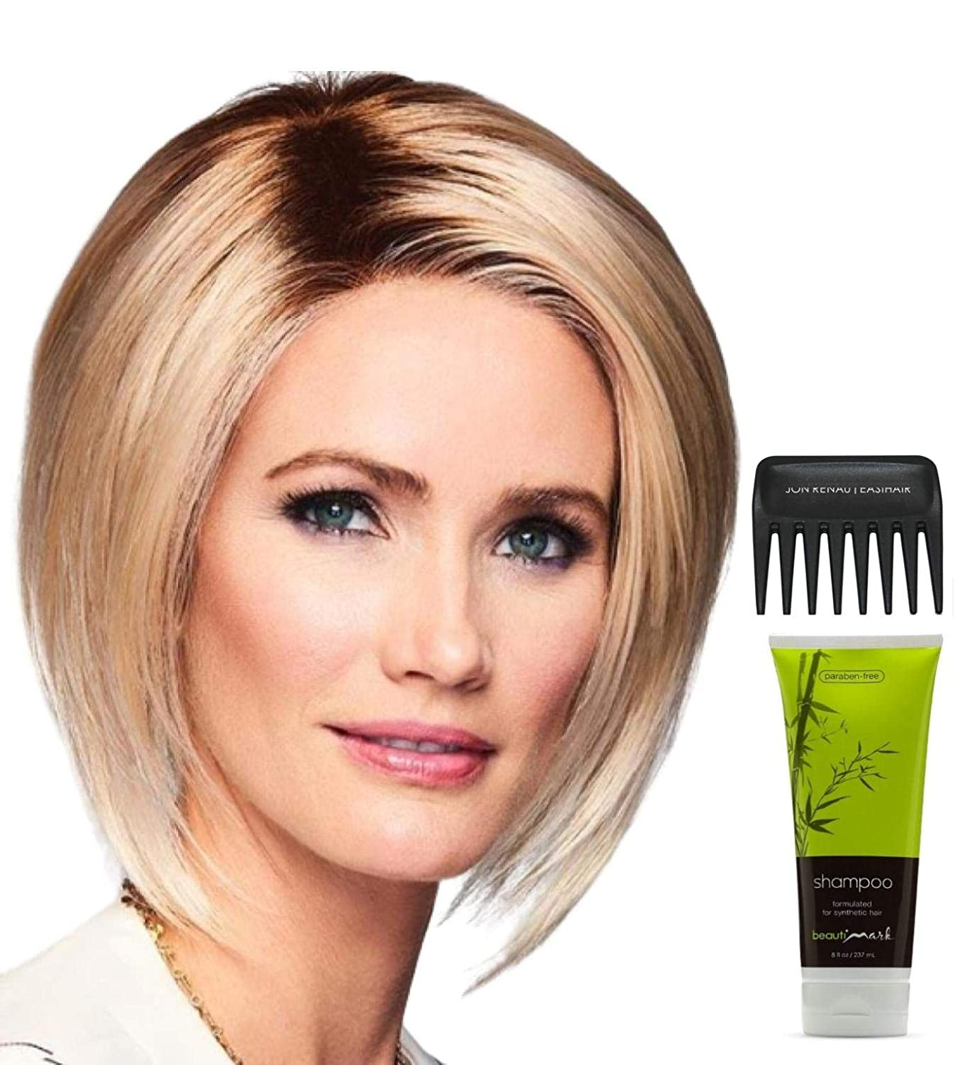 Bundle - 4 Items: One Edge by Gabor, Christy's Wigs Q & A Booklet, BeautiMark Synthetic Shampoo & Wide Tooth Comb - Color: 27-22