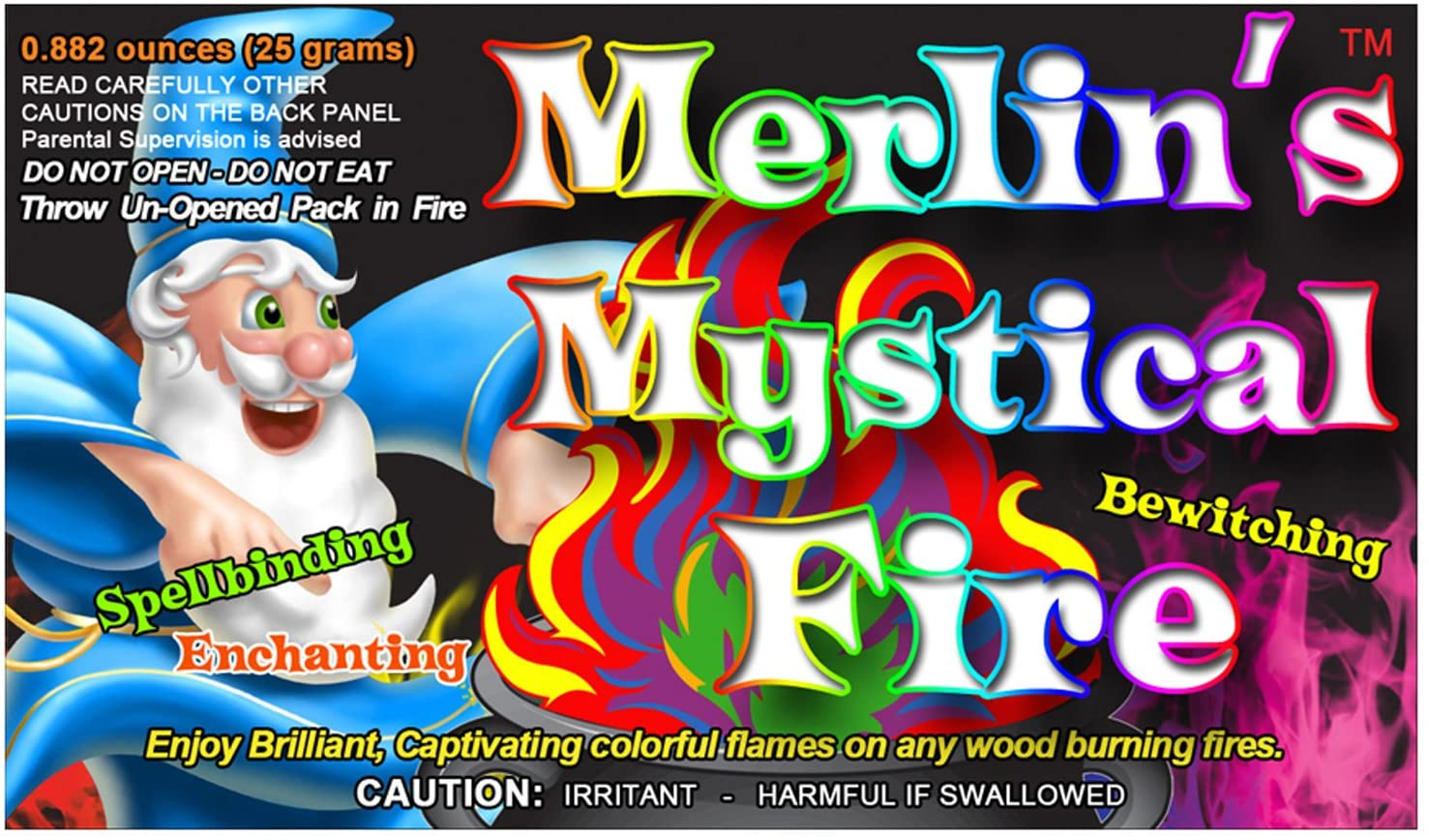 Mystical Fire Merlin's Fire Flame Colorant Vibrant Long-Lasting Pulsating Flame Color Changer for Indoor or Outdoor Use 0.882 oz Packets 6 Pack