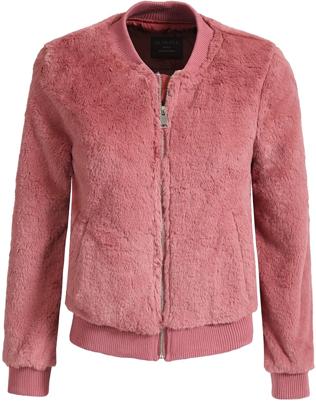 NE PEOPLE Womens Basic Soft Fur Long Sleeve Zip Up Jacket with Pockets