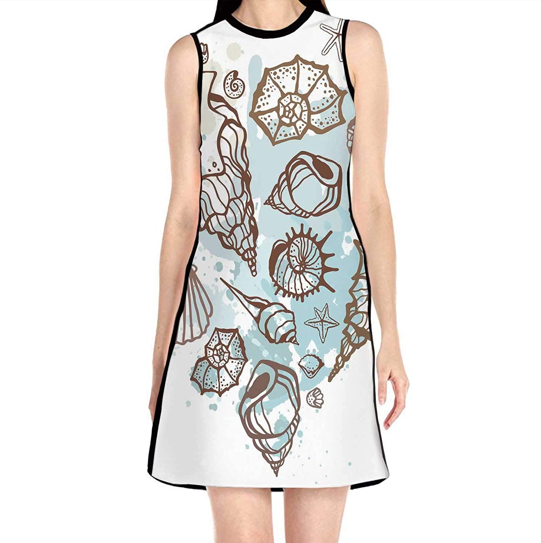 C COABALLA Heart of The Shells.Hand Drawn,Women's Slim Short Dress S