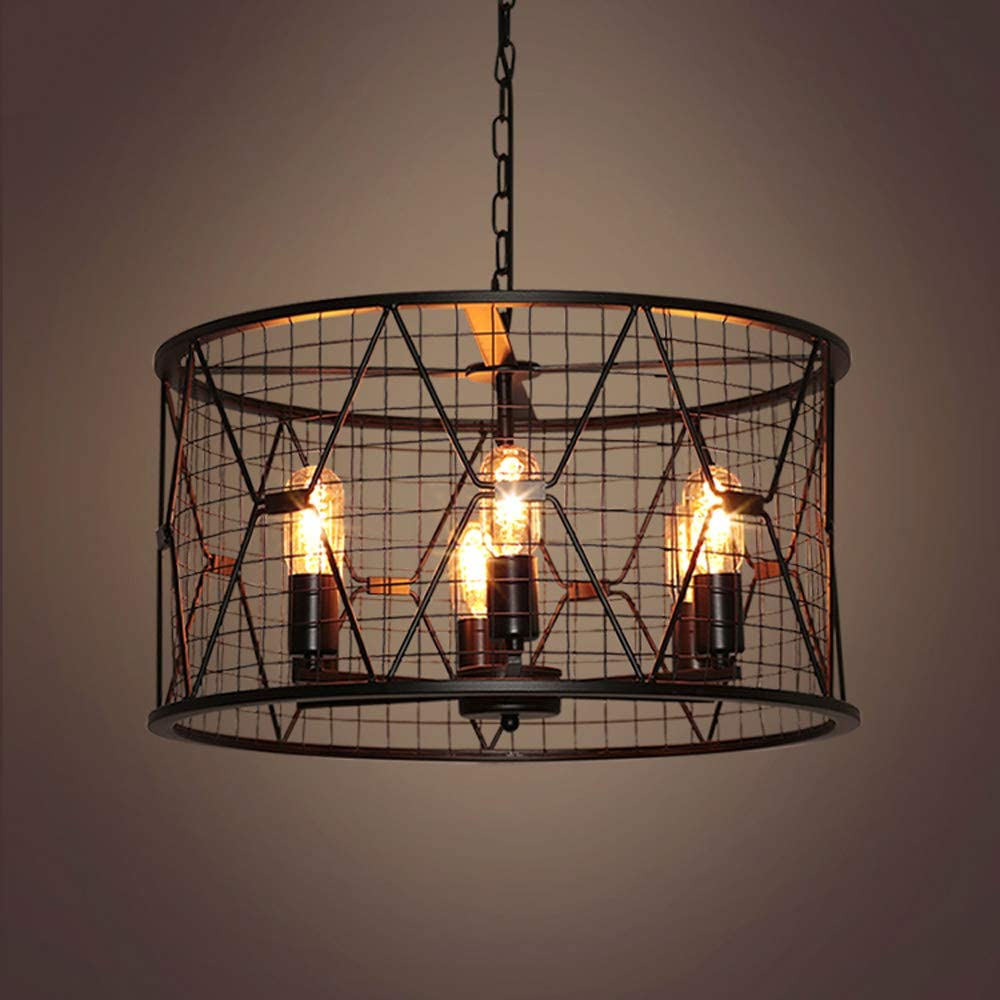 NIUYAO Industrial 6 Light Chandelier Retro Rustic Antique Barn Pendant Ceiling Lights Hanging Lamp Fixture with 21.7''W Cylinder Metal Round Cage Black 458118