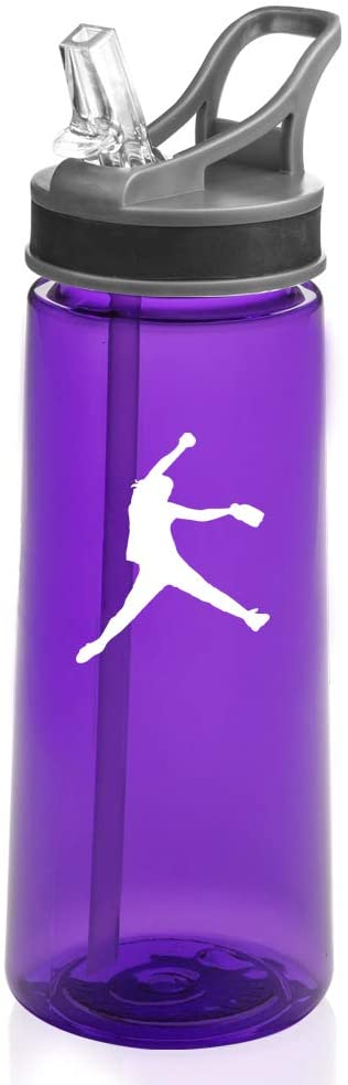 22 oz. Sports Water Bottle Travel Mug Cup With Flip Up Straw Female Softball Pitcher (Purple)