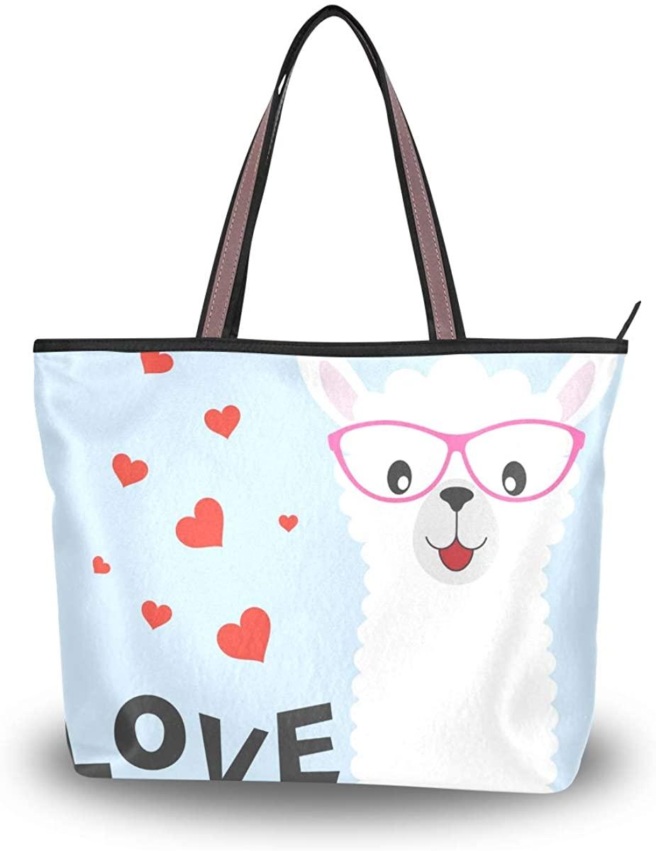 Woman Tote Bag Cute Baby Llama Love Shoulder Handbag for Work Travel Business Beach Shopping School