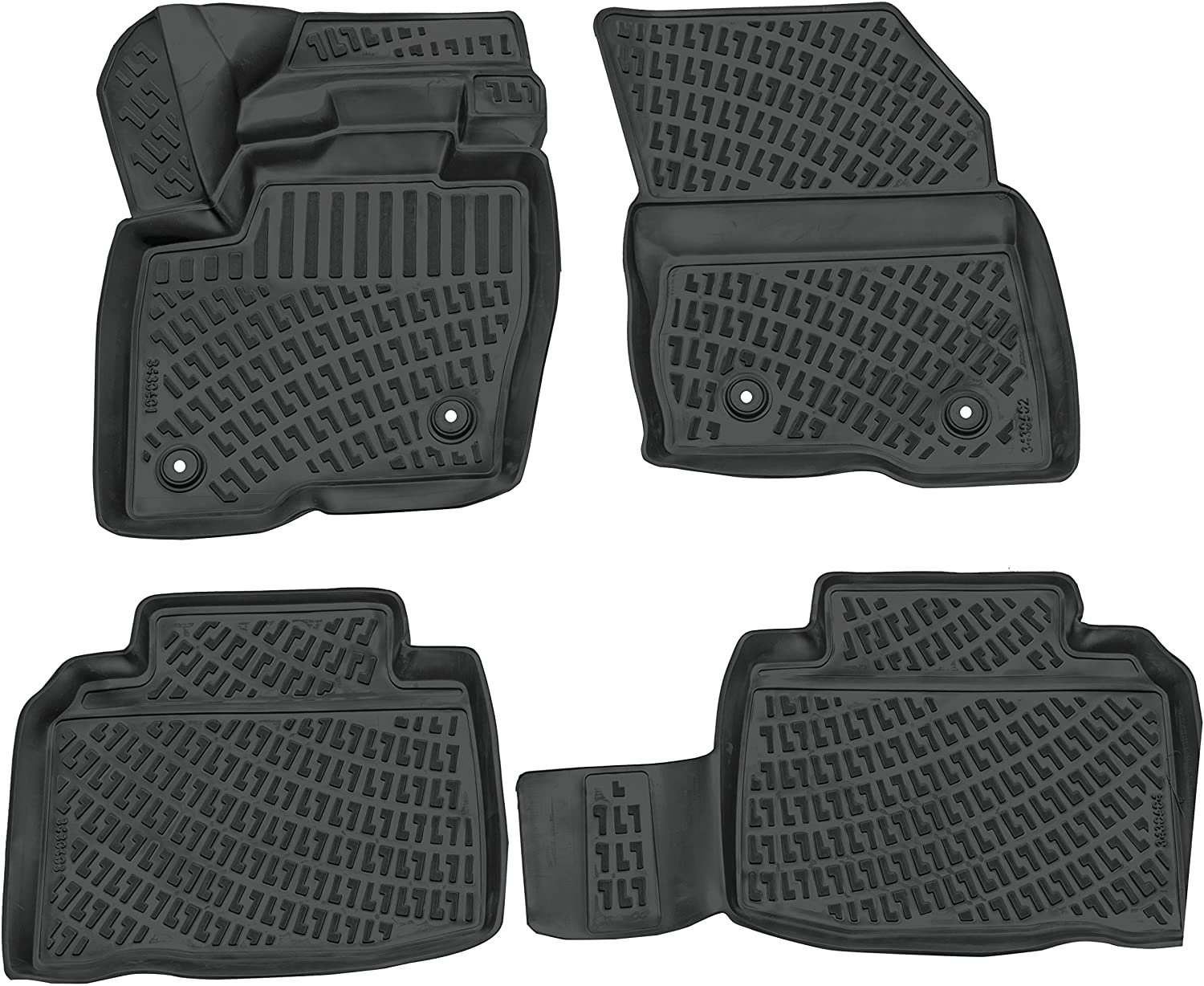 Crocliner Floor Mats Front and Rear All Weather Custom Fit Floor Liner (Ford Edge/Edge ST / 2015-2020)