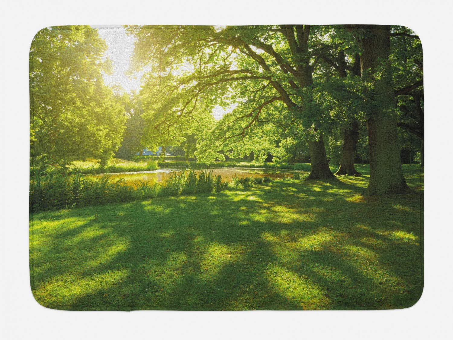 Ambesonne Green Bath Mat, Summer Park in Hamburg Germany Trees Sunlight Forest Nature Theme Scenic Outdoors Picture, Plush Bathroom Decor Mat with Non Slip Backing, 29.5