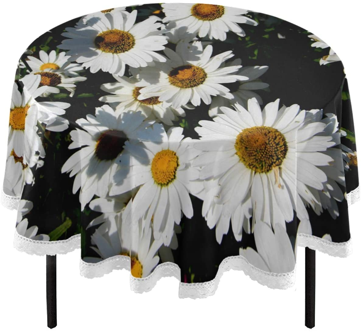 Oarencol Beautiful Sunflower 3D Floral Summer Round Tablecloth 60 Inch Table Cover Washable Polyester Table Cloth for Buffet Party Dinner Picnic