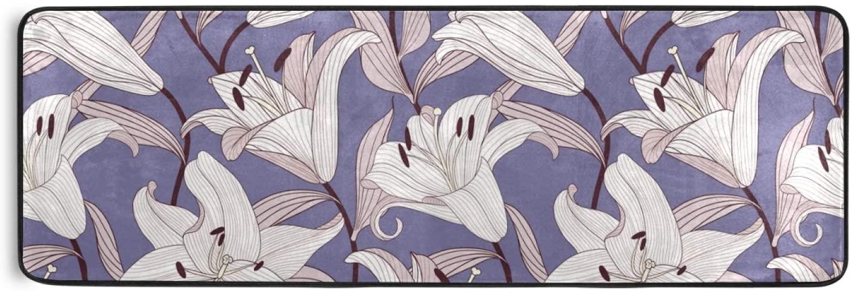 Area Rug Runner Purple Lily Non Slip Soft Doormats Carpet for Hallway Bathroom Kitchen Laundry Bedroom 72 x 24 Inch