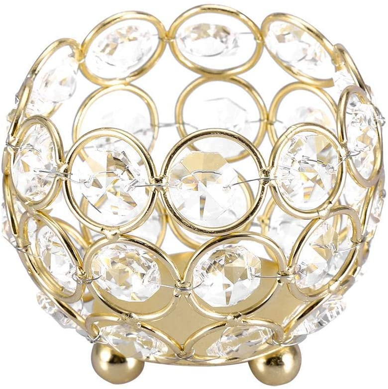 Strnek Crystal Tea Light Candle Holders Wedding Home Party Office Table Decor Table Centerpieces(Diameter 8cm-Gold)