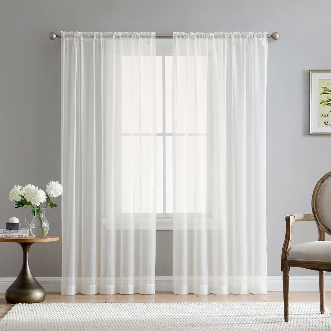 HLC.ME Ivory Sheer Voile Window Treatment Rod Pocket Curtain Panels for Bedroom and Living Room (54 x 84 inches Long, Set of 2)