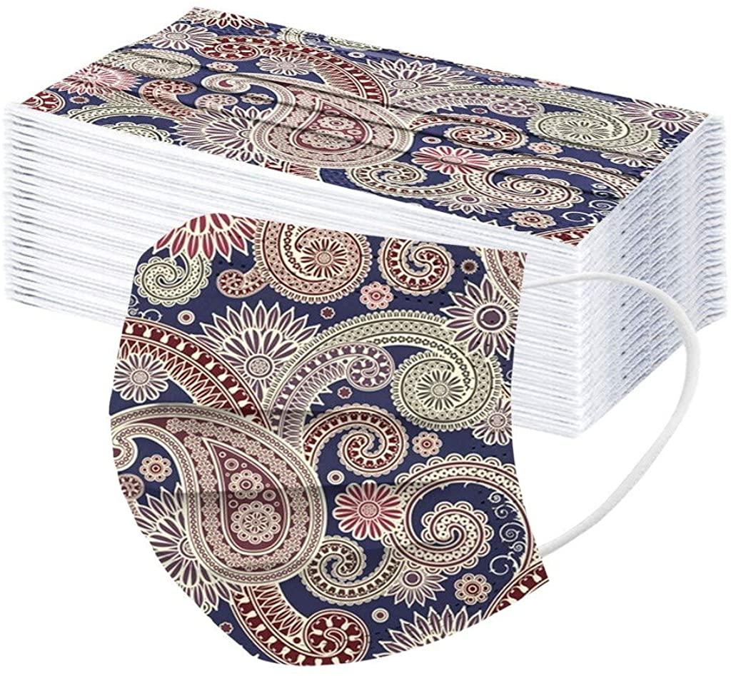 50pcs Disposable Adult Face Bandanas, 3 Ply Non-Woven, Cashew Flower Print, Breathable, Anti-Dust
