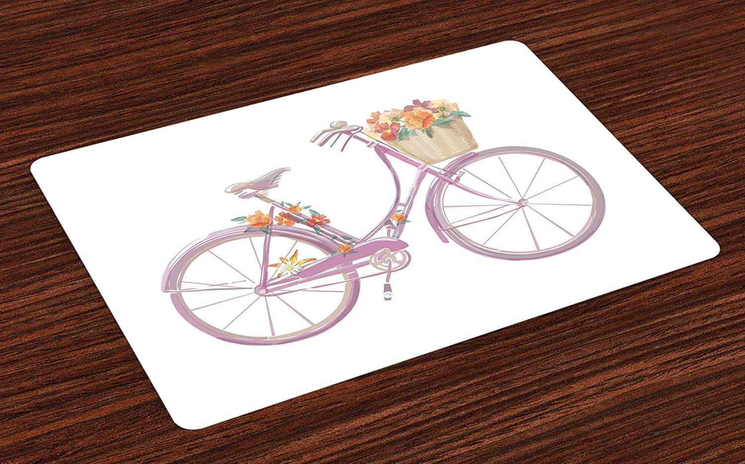 Ambesonne Bicycle Place Mats Set of 4, Watercolor Illustration of a Pink Bicycle with Flowers Romantic Vintage, Washable Fabric Placemats for Dining Room Kitchen Table Decor, Multicolor