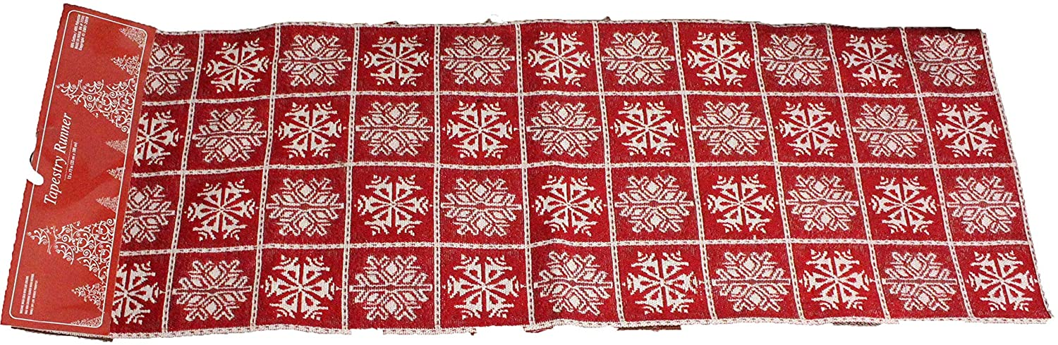 Red Snowflake Christmas Placemats and/or Red Snowflake Table Runner Sets - Holiday Placemats Table Decorations Christmas Snowflake Kitchen Linen Sets (1 Pc Pattern B - Table Runner)