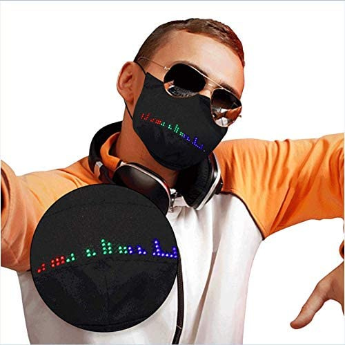 Goyalange Reusable LED Face_Masks for Adult Fiber APP for Man Woman Washable Coverings Breathable Nightclub Party Bungee USB Bandana Adjustable Outdoor Protection (1PC+1USB+10 Filters, Black 2)
