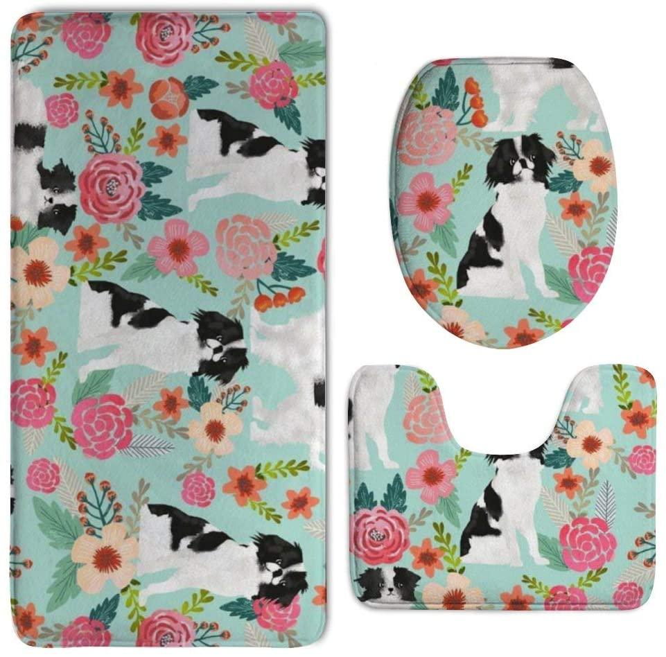 NiYoung Bathroom Rug Mat - Bath Mat Carpet - Non-Slip Pedestal Doormats Floor Mats Rugs Kitchen Bedroom Carpet/Toilet Seat Cover and Rug - Dog Pet Floral Carpets Decor