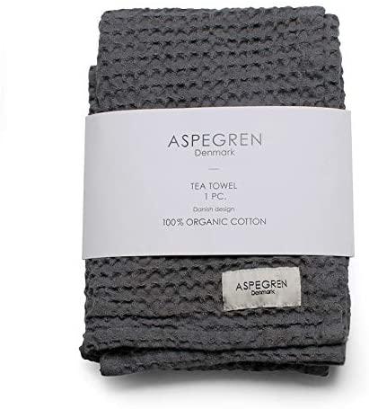 Aspegren 1-Piece Danish Waffle Weave Tea Towel 100% GOTS Certified Organic Cotton Made in India | 1 Tea Towel in Single Color (1-Pc Tea Towel North Dark Gray)