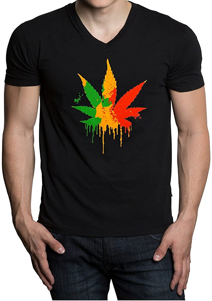 Men's Dripping Rasta Weed Leaf Black V-Neck T-Shirt Black
