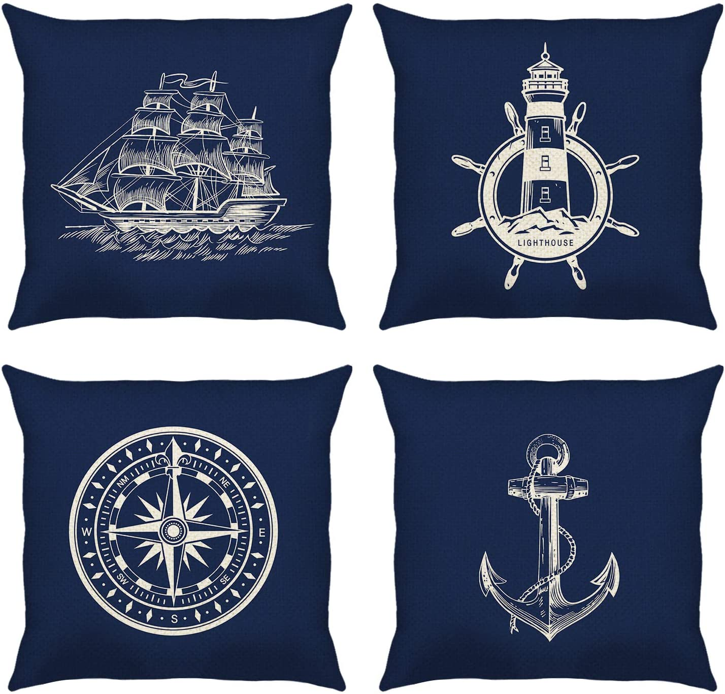 Bonhause Nautical Navy Blue Throw Pillow Covers 18 x 18 Inch Set of 4 Anchor Lighthouse Sailboat Compass Decorative Throw Pillow Cases Cotton Linen Cushion Covers for Sofa Couch Car Home Décor