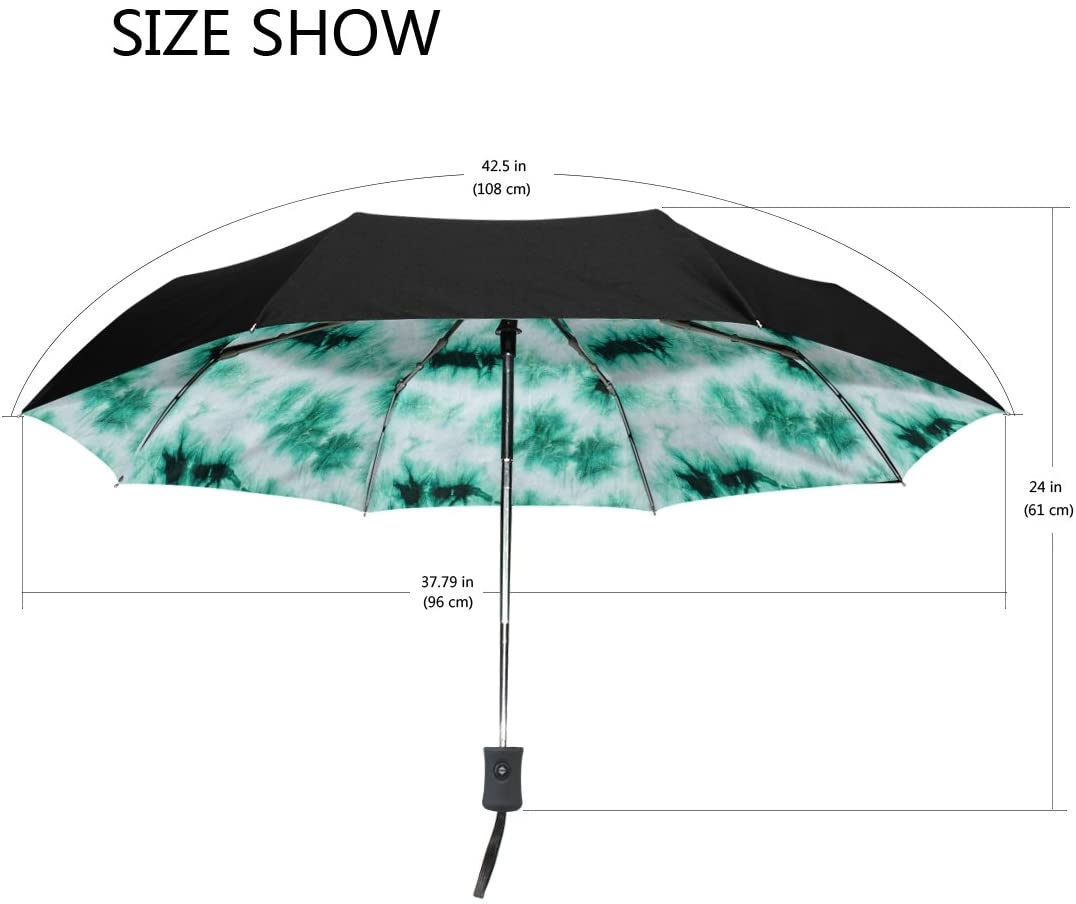 YZGO Outer Black Umbrella Tie Dye Auto Compact Travel Folding Umbrella Waterproof Anti UV Shady Protective Gifts for Business & Personal