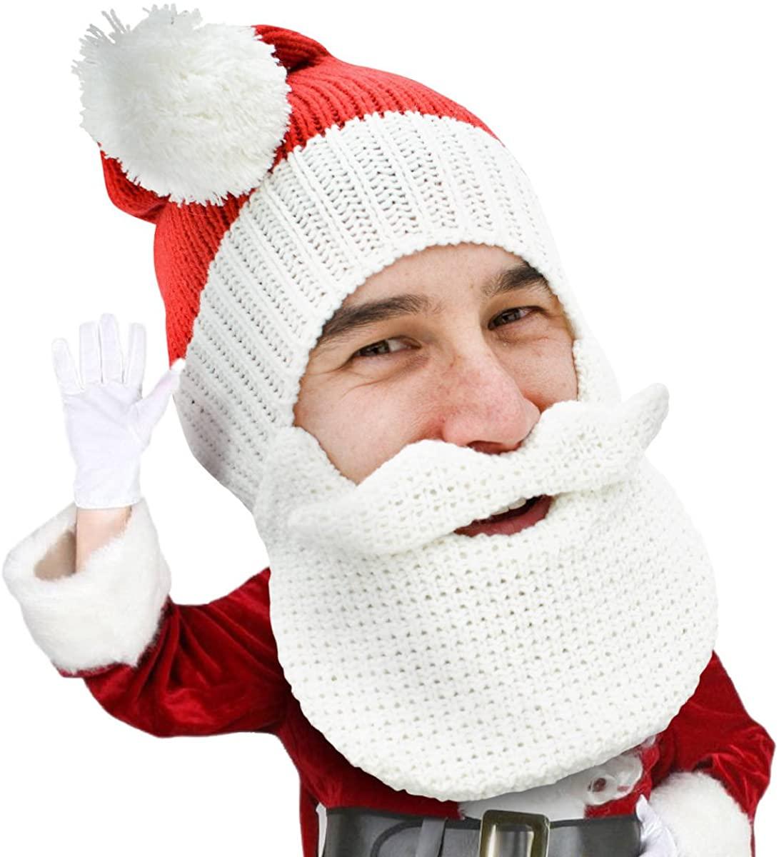 Beard Head Knitted Santa Beard Hat with Classic Funny Christmas Beard Costume